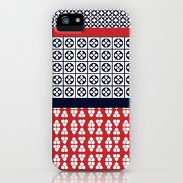 Japanese Style Ethnic Quilt Blue and Red iPhone Case