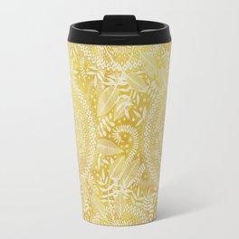 Medallion Pattern in Mustard and Cream Travel Mug
