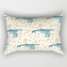 Blue Whales Swimming in Gold Rectangular Pillow