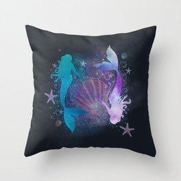 blue & purple mermaid #2 Throw Pillow