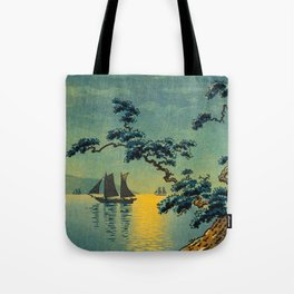 Tsuchiya Koitsu Maiko Seashore Japanese Woodblock Print Night Time Moon Over Ocean Sailboat Tote Bag