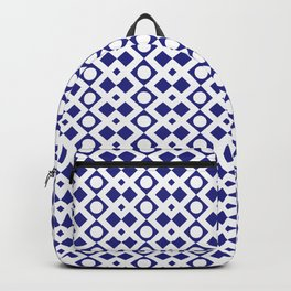 Geometric Pattern - Diamonds and Dots - Navy Blue & White Backpack