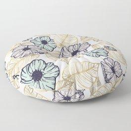Tropical mint pink gold monster leaf floral Floor Pillow