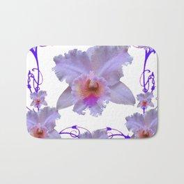 WHITE CATTLEYA ORCHIDS & PURPLE  ART Bath Mat