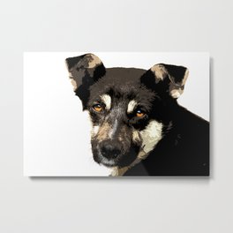 Homeless dog face art print Metal Print