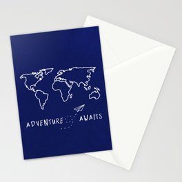 Adventure Map - Navy Blue Stationery Cards