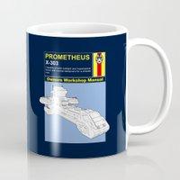 prometheus Mugs featuring Prometheus  by Paul Elder