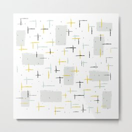 Retro Terrazzo Speckled Abstract Pattern Metal Print