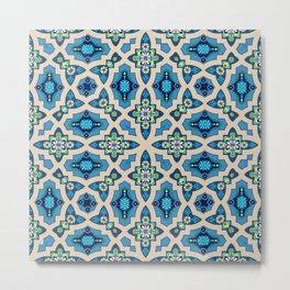 Boho Moroccan Tiles in blue Metal Print