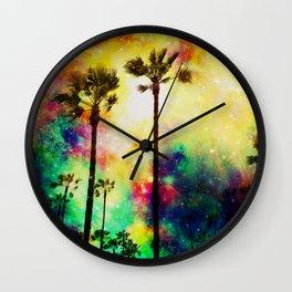 Fantasy sky palms Wall Clock