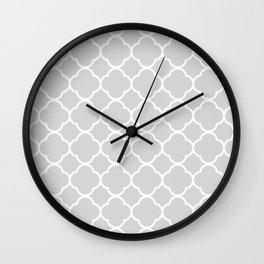 Gray & White Quatrefoil Wall Clock