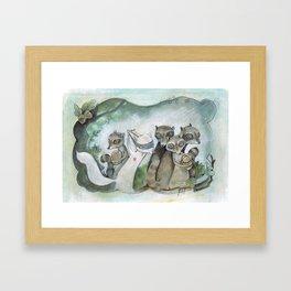 Christmas Raccoons Framed Art Print