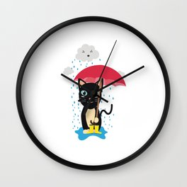 Cat in the rain with Umbrella Wall Clock