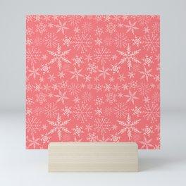 Pink and White Snowflakes Mini Art Print