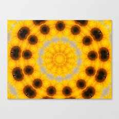 Sunflower and Bee Abstract Canvas Print
