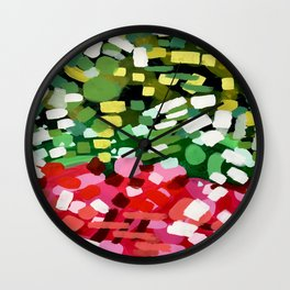 """Original Abstract Acrylic Painting by Ejaaz Haniff """"Spring Bloom"""" Colorful Organic Patterns Red Gree Wall Clock"""