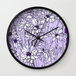 Chrysanthemum, violet version Wall Clock