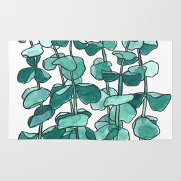 Eucalyptus Branch Watercolor Painting Rug
