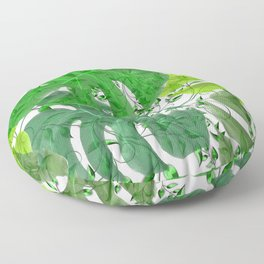 PALM LEAF B0UNTY GREEN AND WHITE Floor Pillow