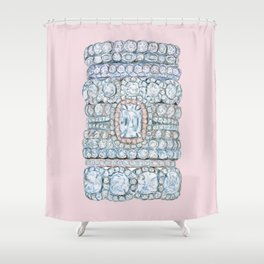 Diemond Rings on Light Pink Shower Curtain