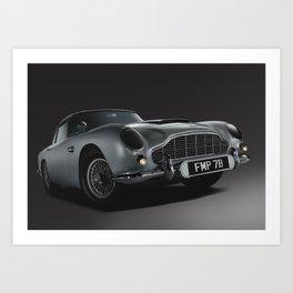Aston Martin DB5 Digital Painting   Automotive   Cars Art Print