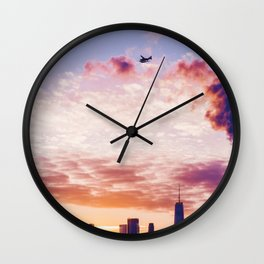 Sunset over the Cityscape (Color) Wall Clock