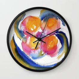 Peace Flower watercolor by CheyAnne Sexton Wall Clock