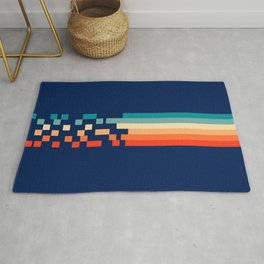 Classic 70s Style Abstract Rainbow Retro Stripes Pixel Drops - Ayako Rug