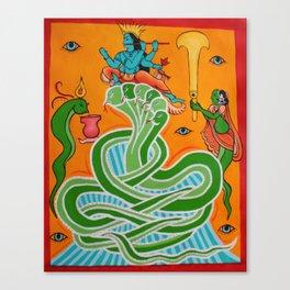 Krishna & the snake Canvas Print