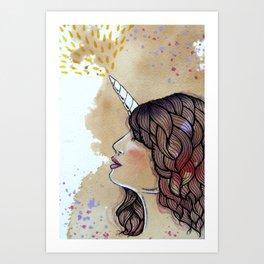 unicorn girl Art Print