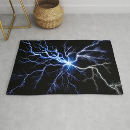 Blue Thunder Colorful Lightning digital impression Rug