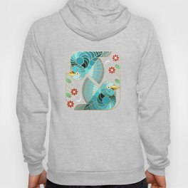 Beautiful Art Deco Midnight Bluebirds And Blossoms Hoody