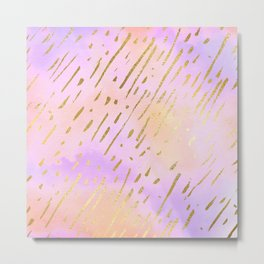 Pastels In Gold Stipes Metal Print