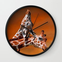 Giraffes couple in love Wall Clock