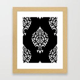 Orna Damask Pattern White on Black Framed Art Print
