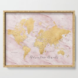 """Adventure awaits, gold and pink marble detailed world map, """"Sherry"""" Serving Tray"""