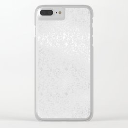 Blush gray white silver elegant glam pattern Clear iPhone Case