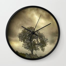 Tree on cemetery hill Wall Clock