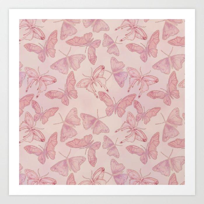 Butterfly Pattern soft pink pastel Kunstdrucke