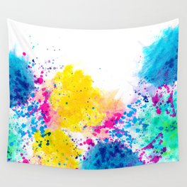 Blue Yellow Abstract Watercolor Neon Pink Splatter Wall Tapestry
