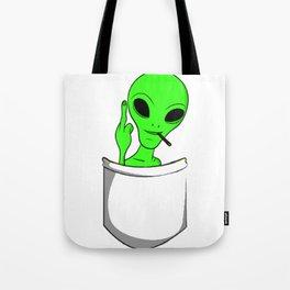 Alien in a pocket smoking weed / blunt Tote Bag