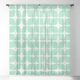 Mid Century Modern Star Pattern Mint Green 2 Sheer Curtain