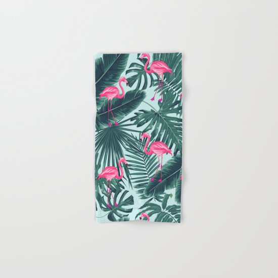 tropical pink flamingo Hand & Bath Towel