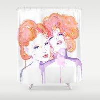 gustav klimt Shower Curtains featuring Klimt Mistresses by Nicola MacNeil
