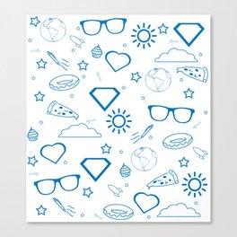 Supergirl/Kara's pattern - blue Canvas Print