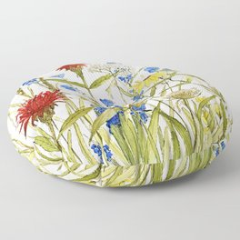 Garden Flower Bees Contemporary Illustration Painting Floor Pillow