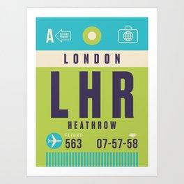 Retro Airline Luggage Tag - LHR London Heathrow Art Print