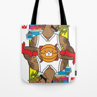 lebron Tote Bags featuring King James by Bobby Bernethy