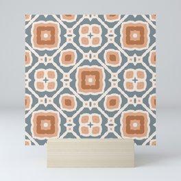slate and terracotta retro boho pattern Mini Art Print