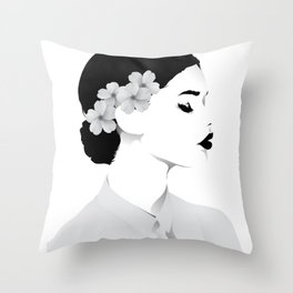 a lady (white shirt ) Throw Pillow